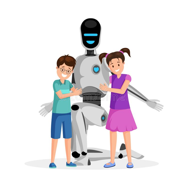 Robot with happy children flat vector illustration. Little boy and girl with artificial babysitter. Futuristic vector illustration