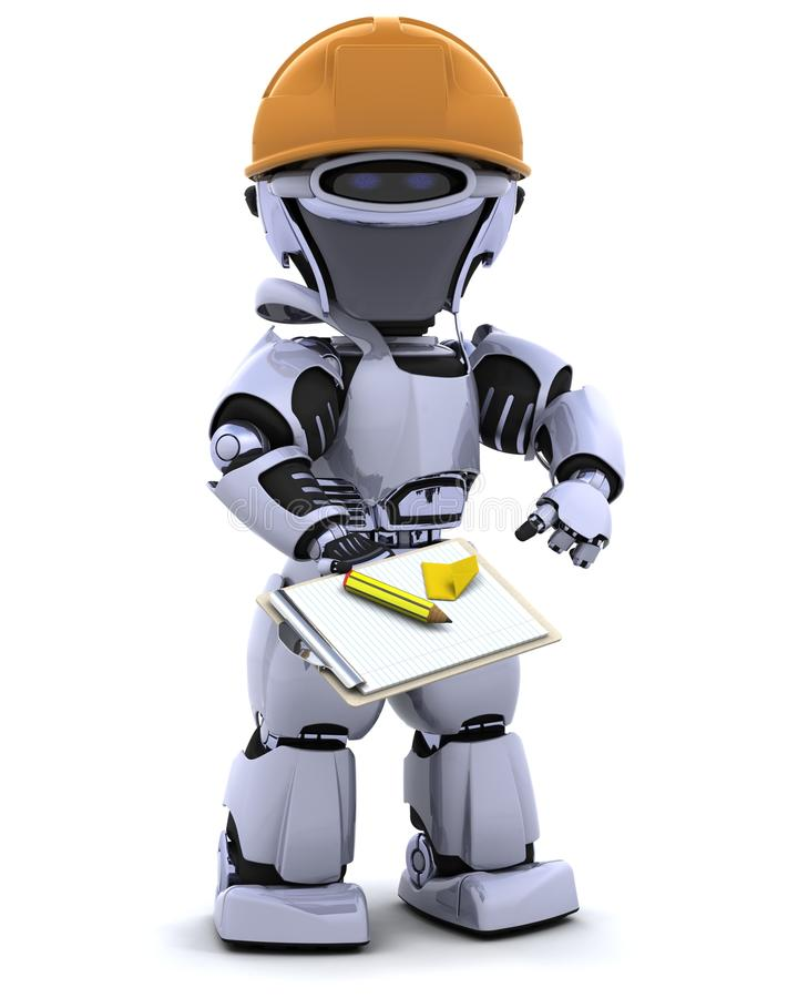 Robot In Hardhat With Clipboard Royalty Free Stock Photos