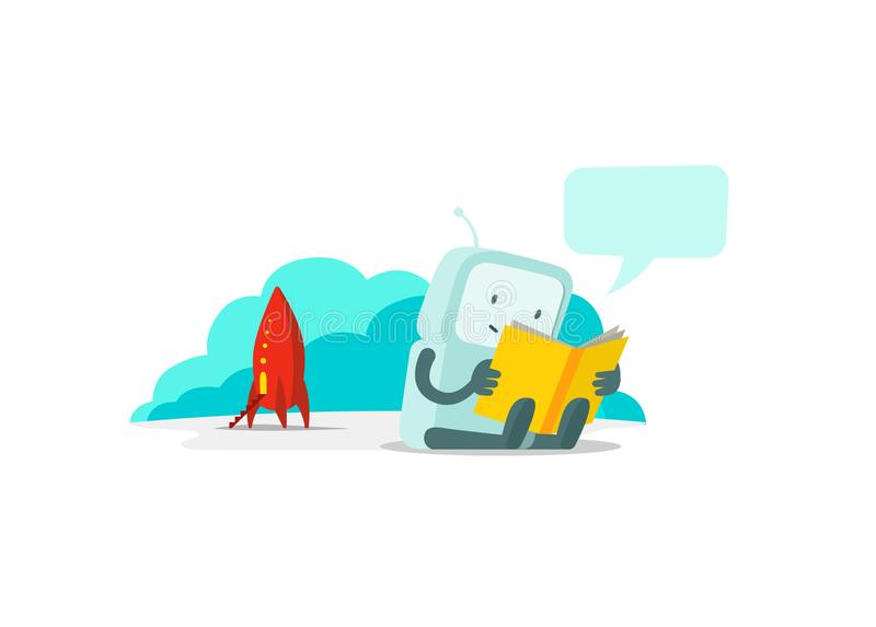 The robot has arrived on rocket and sits reading book. Instructions user guide. Error page not found. Flat color vector royalty free illustration