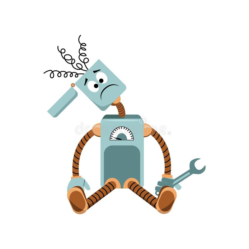 The robot has broken, springs sticking out of the head, holding a wrench. vector illustration