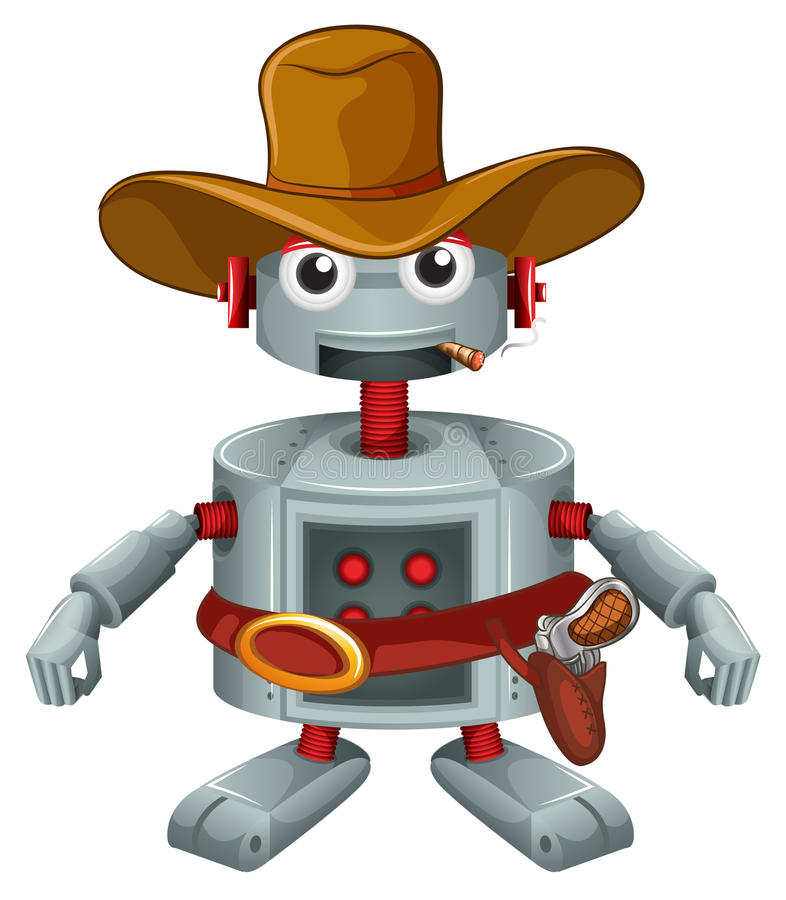 A robot with a hat and a cigar. Illustration of a robot with a hat and a cigar on a white background royalty free illustration