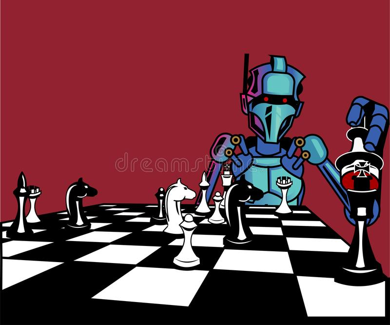 Artificial intelligence. robot plays chess stock illustration