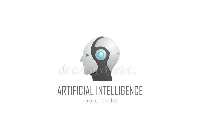 Robot Head Artificial Intelligence Logo design vector template. Cyborg Android Robotics concept icon royalty free illustration
