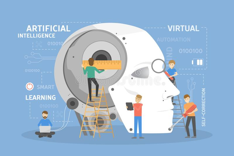 Robot head construction. royalty free illustration