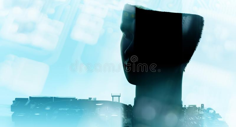 Modern technology engineering, robot ai brain conception royalty free stock images