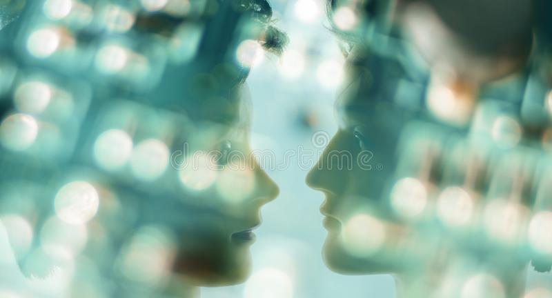 Robotic innovation, deep machine learning. Robot head and defocused circuit board, artificial intelligence concept royalty free stock images