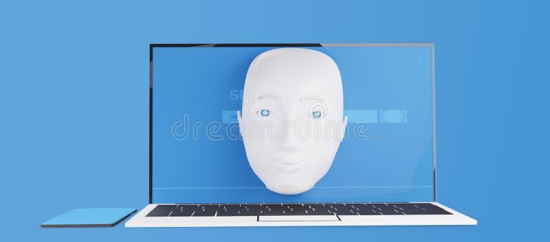 Robot head en la pantalla del ordenador 3d ilustración stock de ilustración