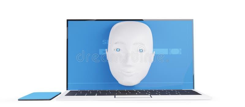 Robot head en la pantalla del ordenador 3d ilustración ilustración del vector