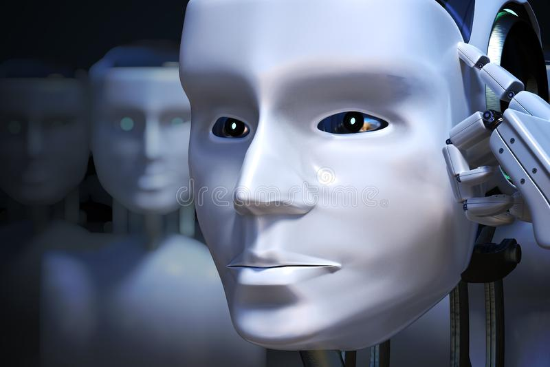 Robot head in front of many others. 3D rendered illustration.  vector illustration