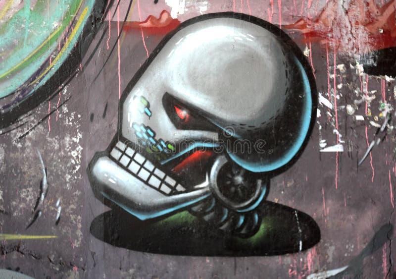 Robot head graffiti stock illustration