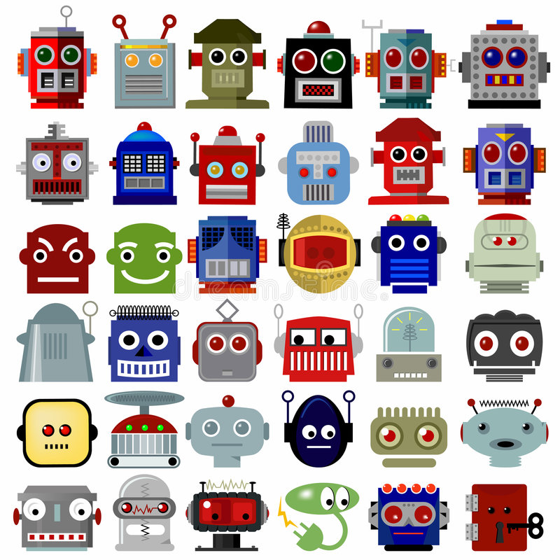 Robot Head Icons stock illustration