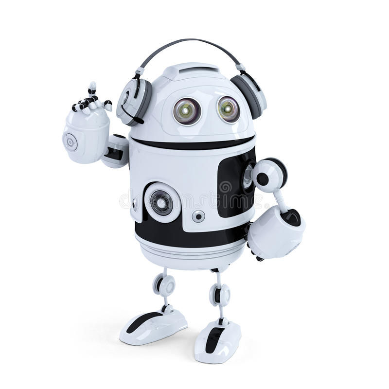 Robot with headphone. Isolated. Contains clipping path stock illustration