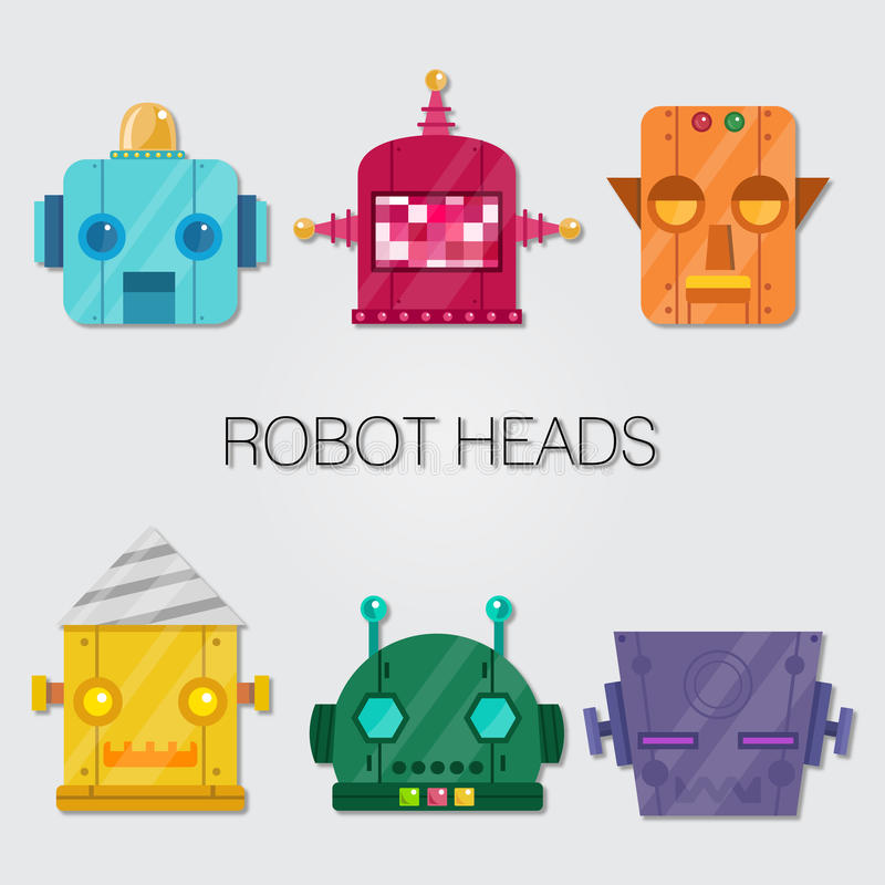 Robot Heads royalty free illustration