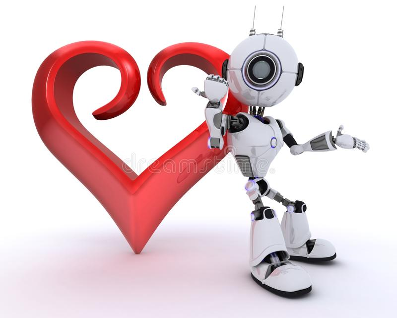 Robot with Heart royalty free illustration