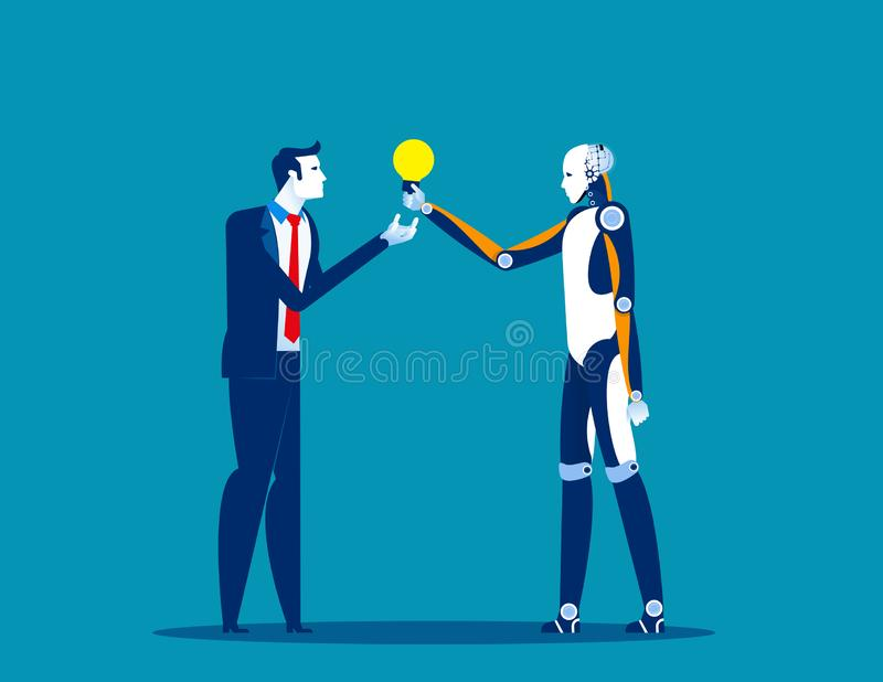 Robot help businessman make solution. Concept business vector illustration, Automation, Artificial stock illustration