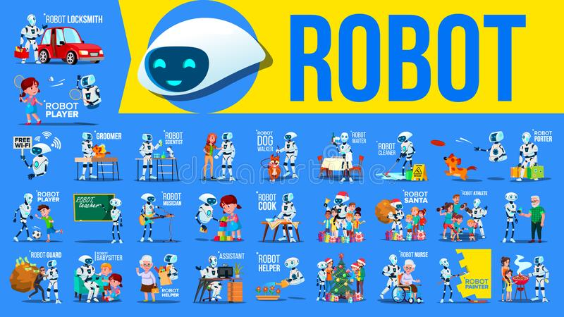 Robot Helper Set Vector. Future Lifestyle Situations. Working, Communicating Together. Cyborg, AI Futuristic Humanoid royalty free illustration