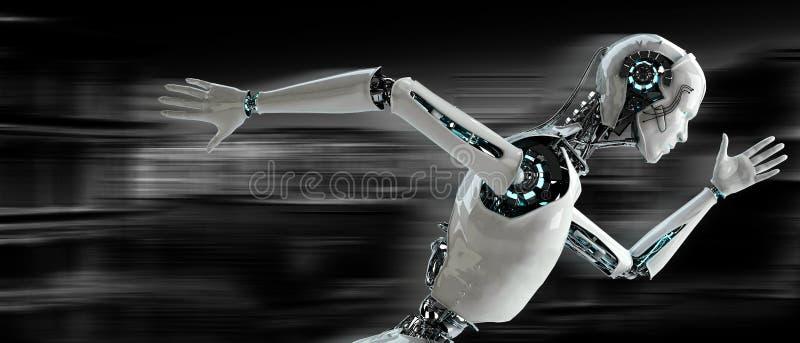 Robot het androïde lopen stock illustratie