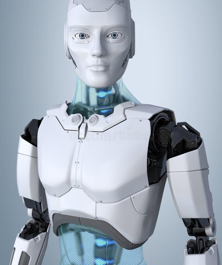 Robot het androïde stellen op een lichtgrijze achtergrond royalty-vrije illustratie
