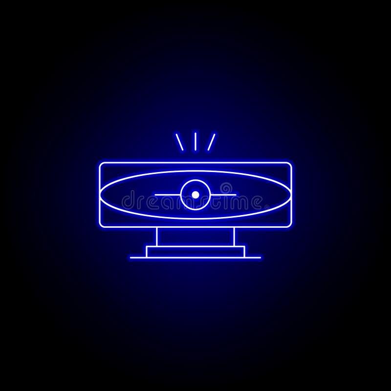 robot, het pictogram van de cameralijn in blauwe neonstijl De tekens en de symbolen kunnen voor Web, embleem, mobiele toepassing, vector illustratie