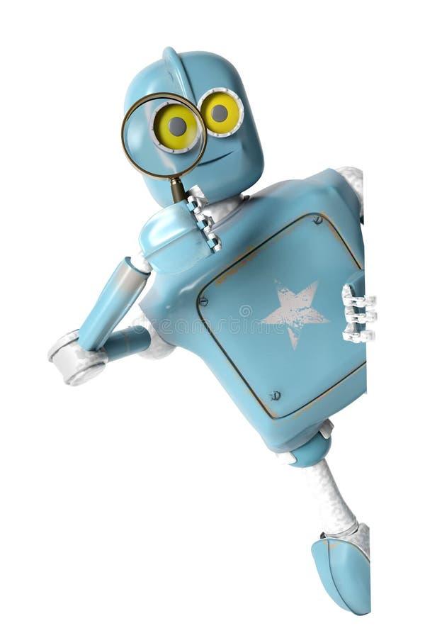 Robot het retro kijken door een vergrootglas wijnoogst cyborg royalty-vrije illustratie