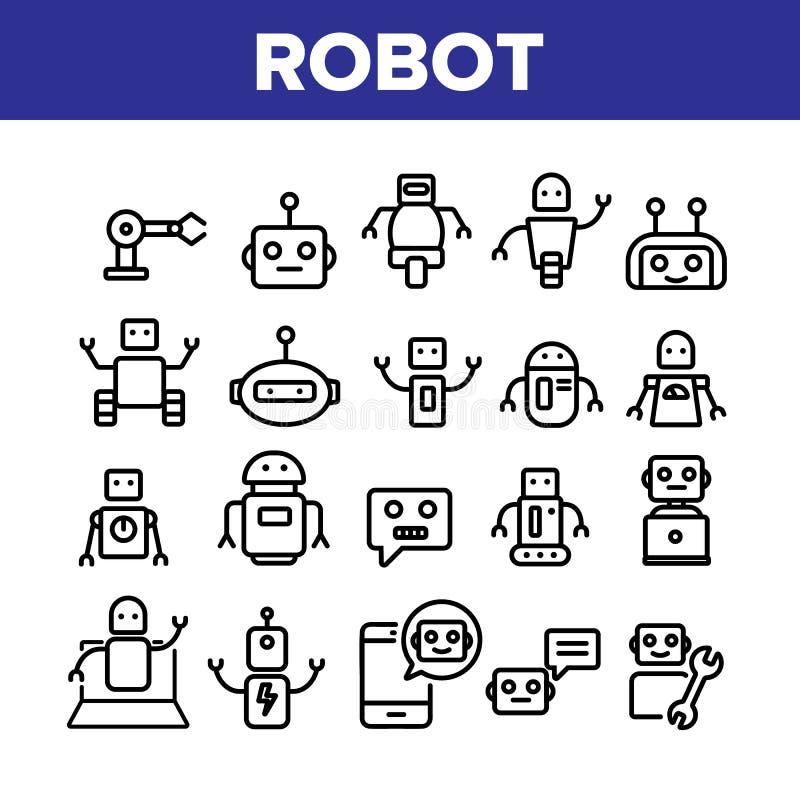 Robot High Technology Collection Icons Set Vector royaltyfri illustrationer