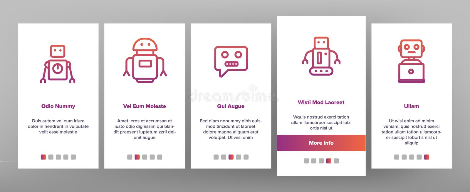 Robot High Technology Onboard Icons Set Vector illustration stock