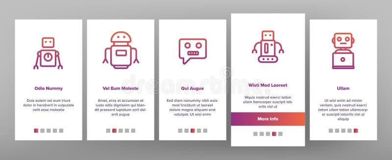 Robot High Technology Onboarding Icons Set Vector stock illustrationer