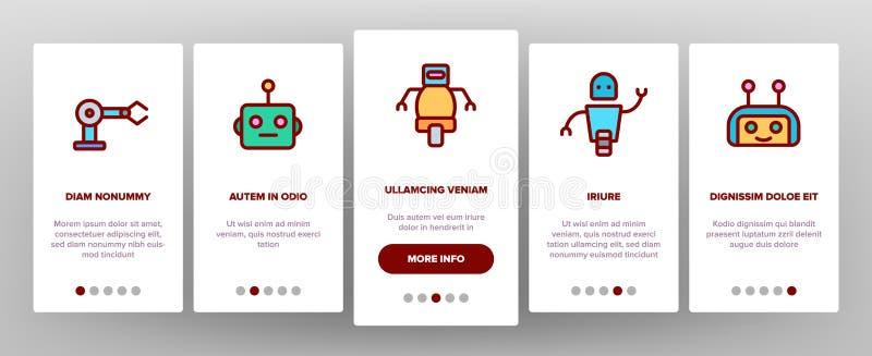 Robot High Technology Onboarding Icons Set Vector vektor illustrationer