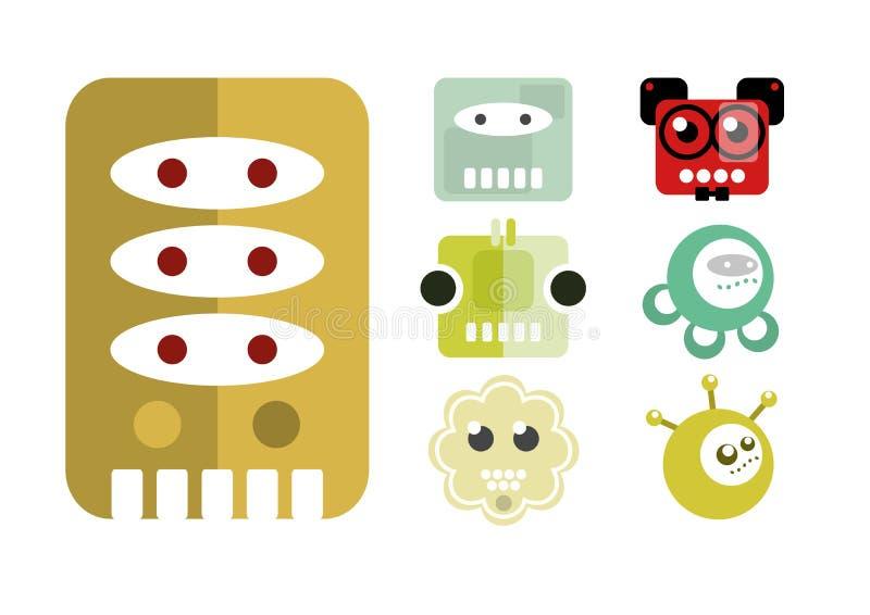 Robot, historieta, icono del carácter stock de ilustración