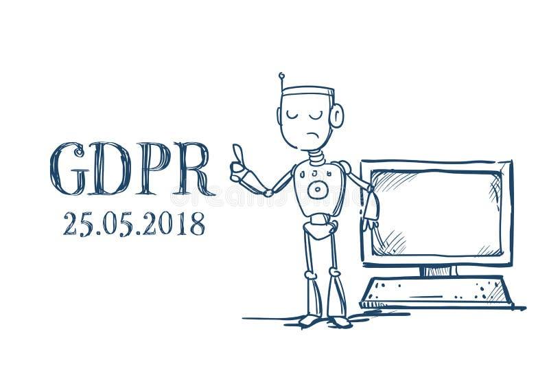 Robot hold computer Artificial Intelligence General Data Protection Regulation GDPR server security guard over white vector illustration