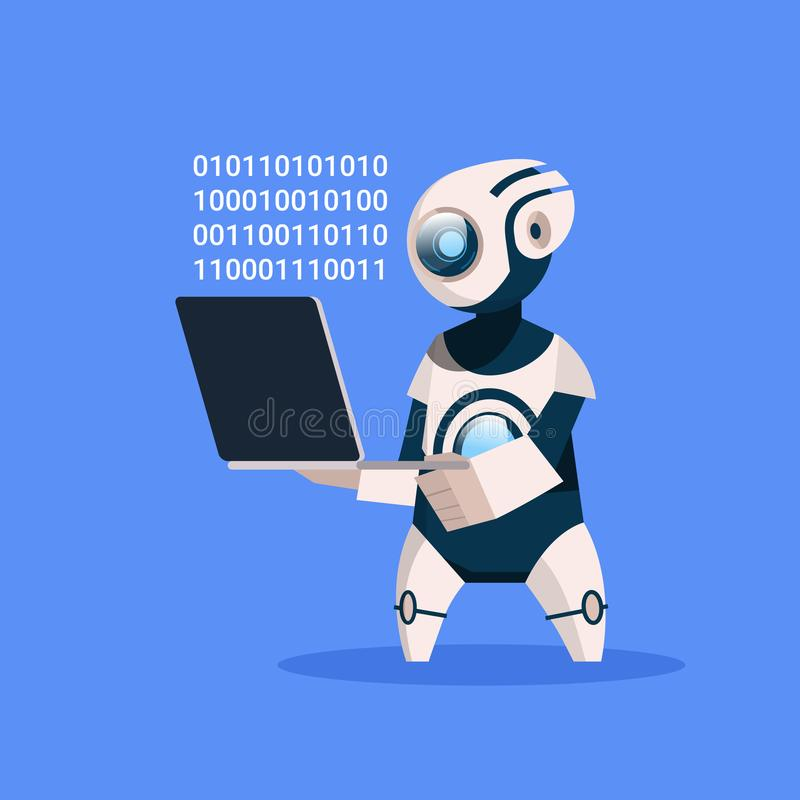 Robot Hold Laptop Coding On Blue Background Concept Modern Artificial Intelligence Technology vector illustration