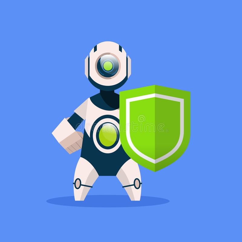Robot Hold Shield Isolated On Blue Background Concept Modern Artificial Intelligence Protection Technology vector illustration