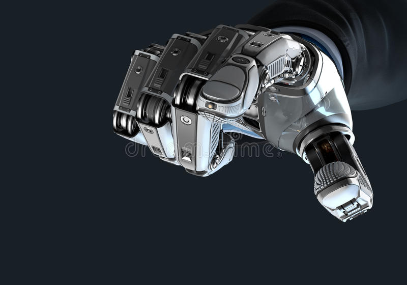 Robot holding bitcoin with fingers in mechanical arm royalty free illustration