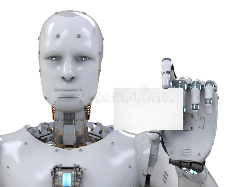Robot holding blank business card stock illustration