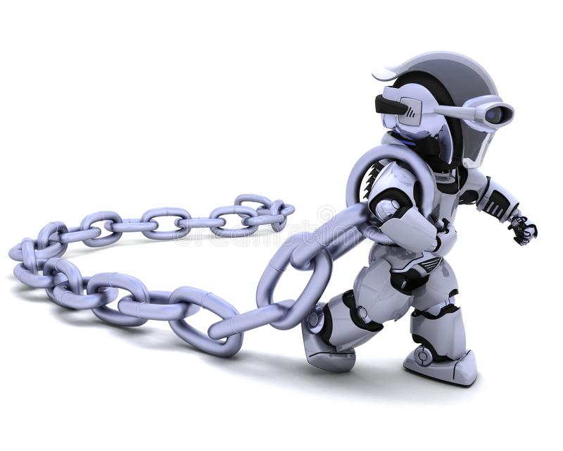Robot Holding A Chain Stock Photography