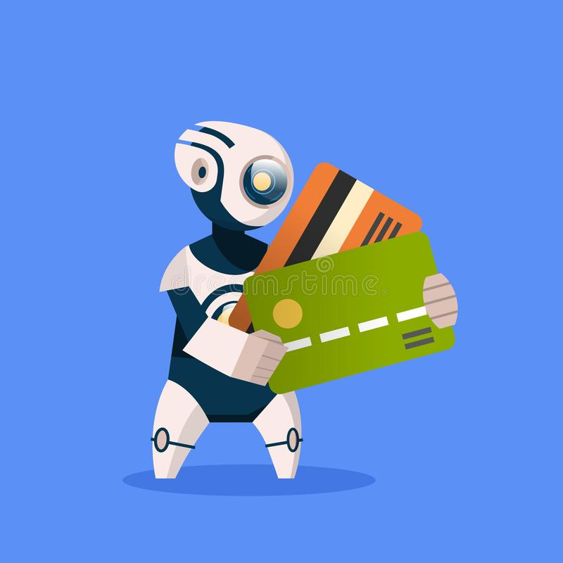 Robot Holding Credit Cards On Blue Background Concept Modern Artificial Intelligence Computer Payment Technology royalty free illustration