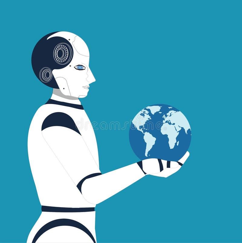 Robot holding globe on blue background stock illustration