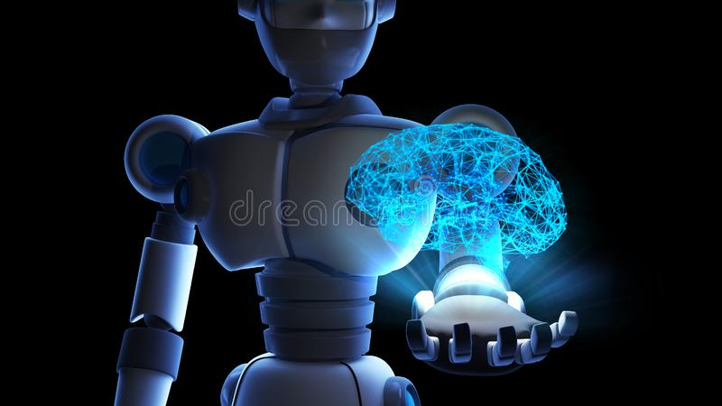 Robot holding human brain in virtual display isolated on binary royalty free illustration