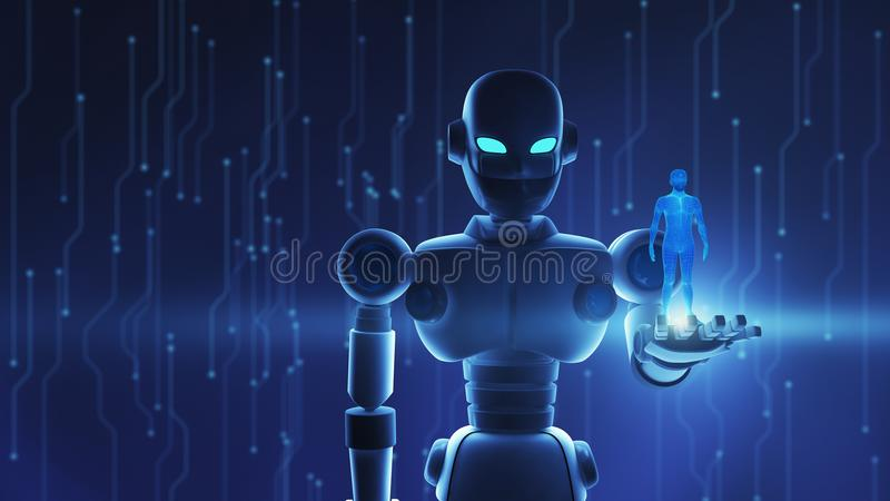 Robot holding human in virtual display, Artificial intelligence royalty free illustration