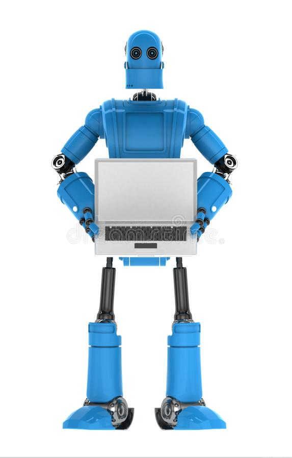 Robot Holding Laptop With Copyspace Available On The Computer Screen Stock Photos