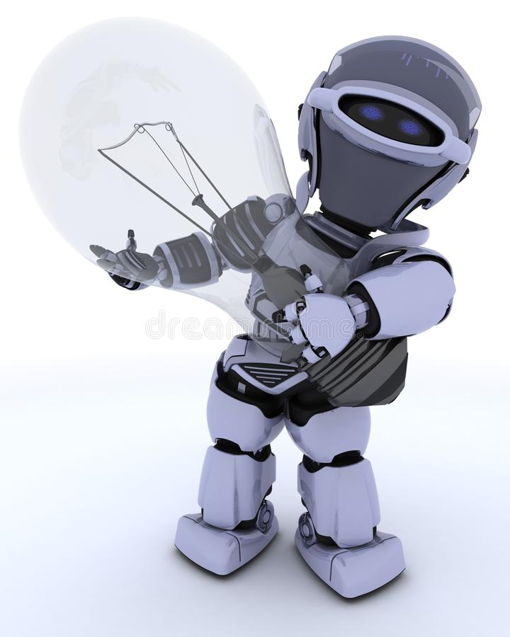 Robot Holding A Light Bulb Stock Images