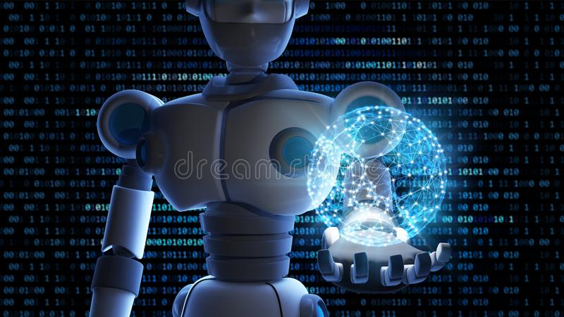 Robot holding the planet earth in virtual display isolated on bi vector illustration