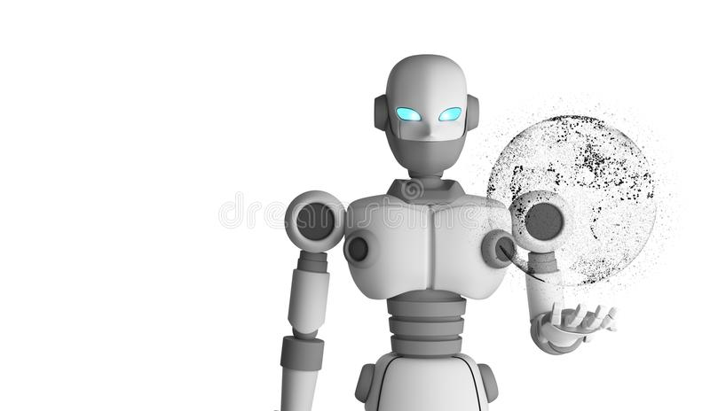 Robot holding the planet earth in virtual display isolated vector illustration
