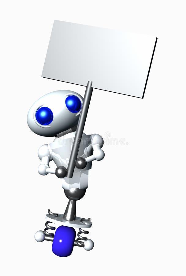 Le robot tient un signe illustration stock