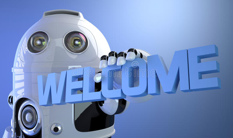 Robot holding WELCOME sign. Technology concept. stock illustration