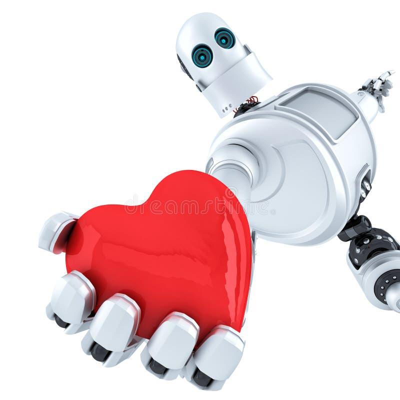 Le robot tient un cœur dans sa main.  Isolé.  Contient un chemin de détourage gratuit