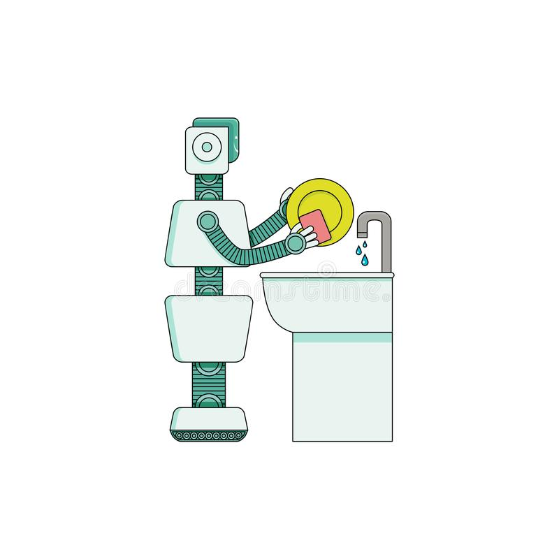 Robot home assistant washing dishes in kitchen washbasin isolated on white background. royalty free illustration