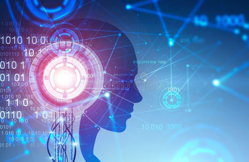 Robot hoofdsilhouet, blauwe HUD-interface stock illustratie