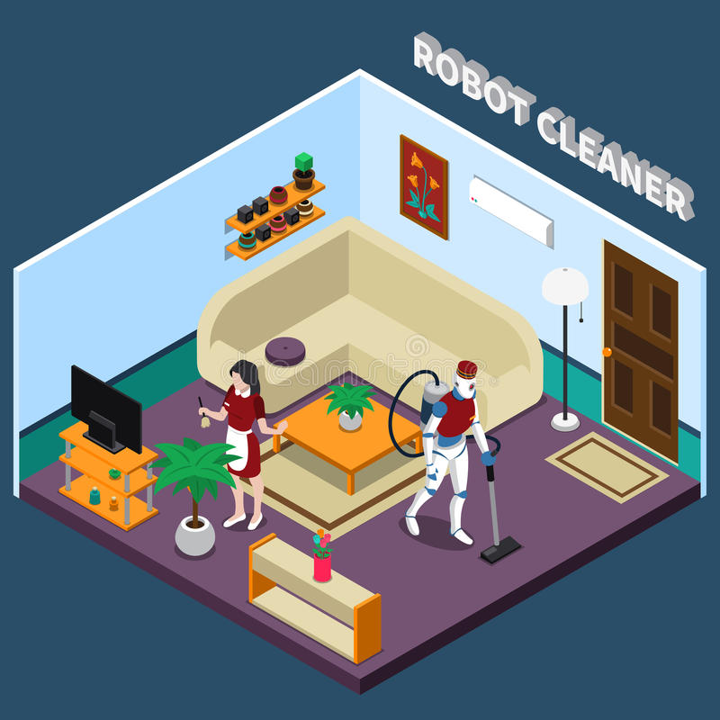 Robot Housewife And Cleaner Professions stock illustration