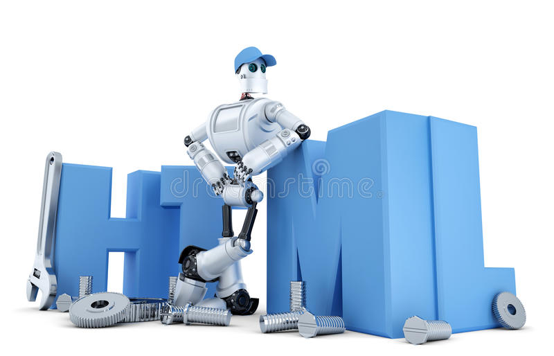 Robot with HTML sign. Technology concept. Isolated. Containsclipping path. Robot with HTML sign. Technology concept. Isolated over white. Containsclipping path royalty free illustration